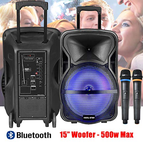 "51v6V216uBL. SS500  - Portable PA Speaker System, Bluetooth, MP3 USB, LED Light Effect, 100w 8"" Woofer & Wireless Microphone"