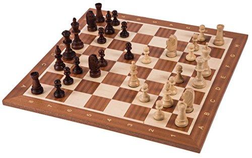 Square - Pro Schach Set Nr. 5 - Europa - Schachbrett + Schachfiguren Staunton 5 - Schachspiel aus Holz
