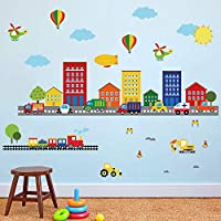 decalmile Construction Kids Wall Stickers Cars Transportation Wall Decals Baby Nursery Childrens Bedroom Living Room Wall Decor