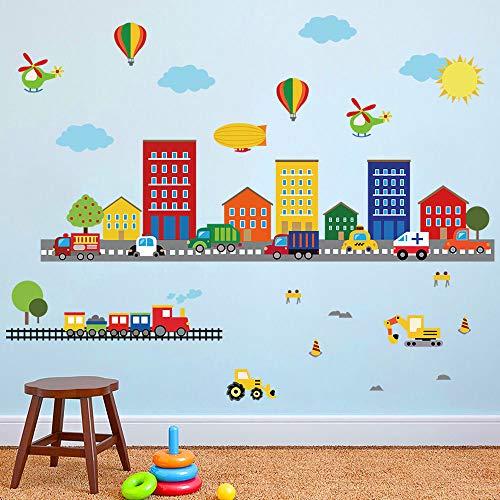 Adesivi Da Parete Per Bambini.Decalmile Adesivi Da Parete Bambini Trasporto Adesivi Murali Auto Mongolfiera Ragazzi Asilo Nido Soggiorno Camera Da Letto Aula Decorazione Murale