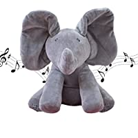 Forever-Beauty PEEK-A-BOO Music Plush Elephant Toy Gifts for Child - Play Hide and Seek Electric Toys Baby Cuddle Doll, Music Animals
