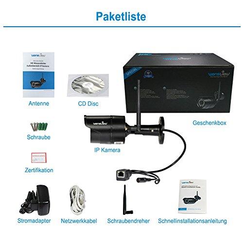 Wansview W2 IP Kamera/2 Mega Pixel HD Sicherheitskamera für Außen /IP cam mit LAN & Wlan Verbindung / Outdoor IP66 wasserdichte Netzwerkkamera, Infrarot Nachtsicht, deutsche App/Anleitung/Support, schwarz - 8