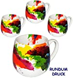 Unbekannt 1 Stück _ Henkeltasse -  on Colour Flow / Bunte Design Farbe  - groß - 420 ml - Keramik / Porzellan - Erwachsene & Kindertasse - Farbmix - Kaffeetasse - Tas..