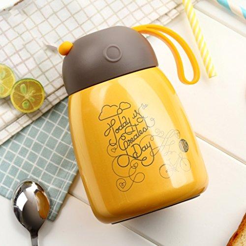 Mugs Tasse Verre Hommes Et Femmes De Mode Vide Ventouses En Acier Inoxydable Étudiants Portables Pour Enfants Tasses Tasses/mugs et soucoupes (Color : Yellow)
