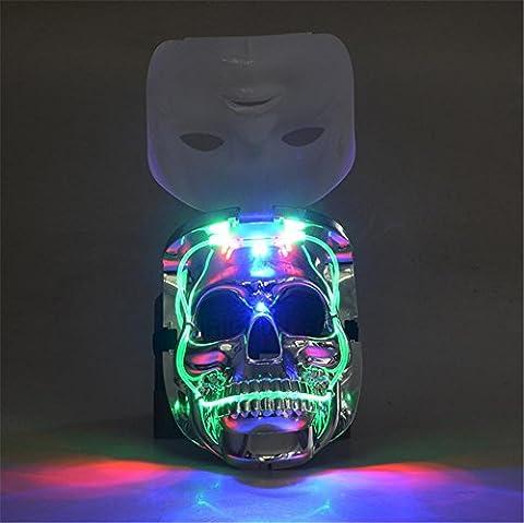 WGE Creative Facebook Led Light-Emittieren Kunststoff Skull Maske Halloween Skeleton, Ghost Face, Prom, Karneval Festival