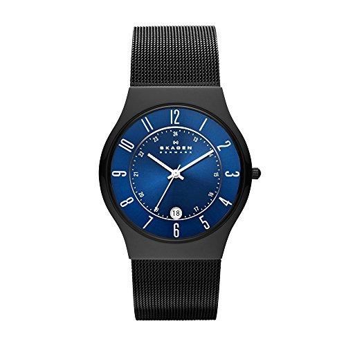 Skagen Slimline 233XLTMN - Reloj de caballero de cuarzo, correa de acero inoxidable color negro