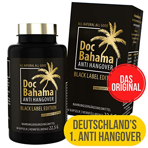 Doc Bahama Anti Hangover gegen Kater nach Alk, Black Label Edition, 60 Kapseln
