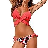 KEERADS Bikini Damen Set Push Up Neckholder Bandeau Bademode Badebekleidung Strand Badeanzug (L, Drucken Wassermelonenrot)