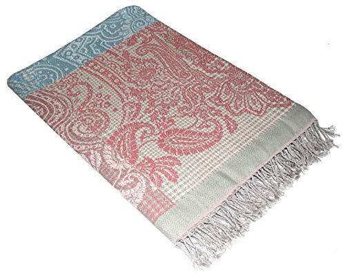 Lorenzo Cana Luxus Decke Jacquard gewebt aus Baumwolle mit feinster Wolle vom Merinolamm Gemustert...