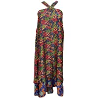 Mogul Womens Vintage Sari Wrap Skirt Two Layer Silk Reversible Beach Dress