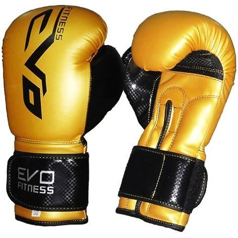 Guantes de Boxeo EVO - de Piel - Guantes MMA Sparring Muay Thai Fitness - 10 oz