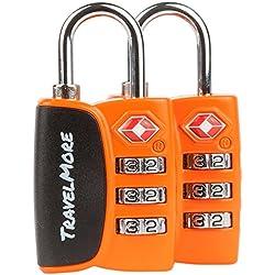 Candado para Equipaje TSA – Candado para Viaje de combinación de cable con alerta de búsqueda para Maleta y Mochila - 2 Paquetes de candado (Naranja)