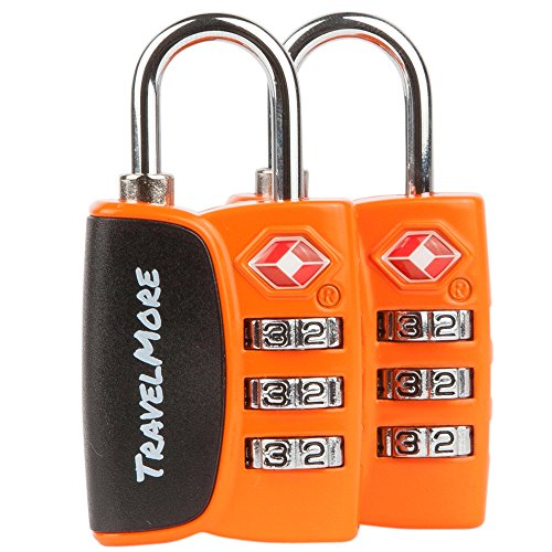 2 Pack TravelMore TSA Luggage Padlocks – 3 Digit Combination Travel Locks  – Orange