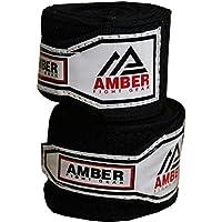 Amber Fight Gear Boxing Stretch - Vendas de Boxeo, Color Negro, Talla 4.5