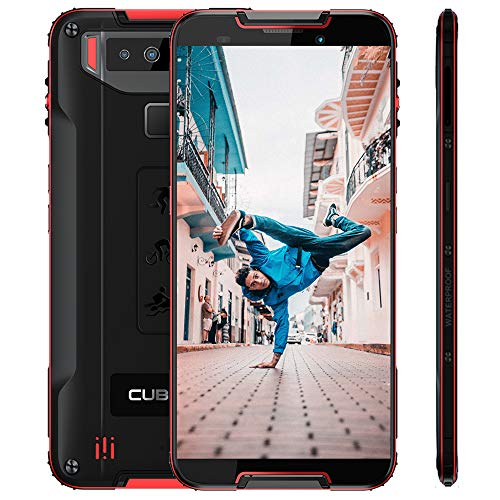"Cubot Quest Android 9.0 4G Dual SIM IP68 Wasserdicht Sport Outdoor Smartphone ohne Vertrag 4000 mAh Akku 4GB +64GB 5.5"" HD+ Display NFC Fingerabdrucksensor Gesicht ID Robustes Smartphone (Schwarz+Rot)"
