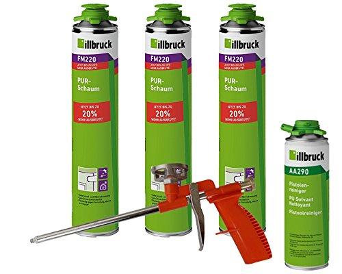 illbruck Profi Set 3x FM220 PUR-Schaum á 750ml Dosen + illbruck AA290 Reiniger + Schaumpistole Compact (Beton-schaum-isolierung)
