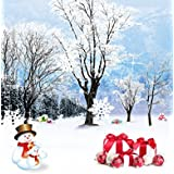 A.Monamour Christmas Winter White Snow Outdoor Snowman Blue Sky Pine Tree Scenic Photography Backdrops 5x7ft Vinyl - White Snowman White Snow Winter Outdoor