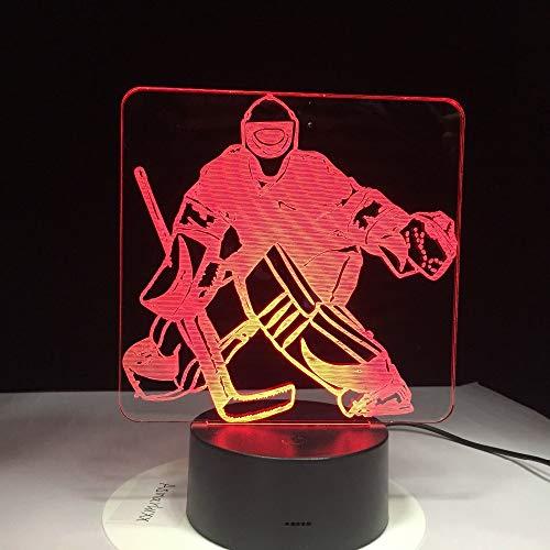 Hockey-Spieler-Sport 3D beleuchtet 7 bunte LED-Nachtlichter USB-Schlafzimmer-Schlafenbeleuchtung für Kinderkanadier verzierte Geschenke 3D1069