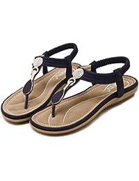 Damen Sommer Bohemia PU Leder Flach Zehentrenner Sandalen,Damen Sandalen Zehentrenner Bohemian Strass Flach Sandaletten Sommer Strand Schuhe in Größe