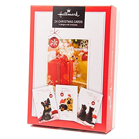 24Stück Qualität Weihnachten Karten–Hunde und Katzen (Katze Weihnachtskarten)