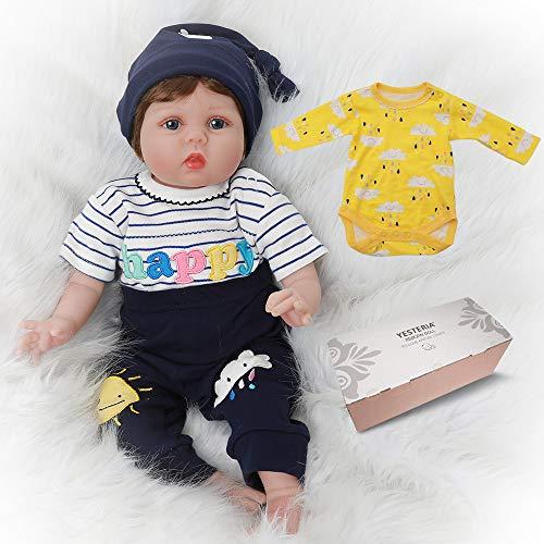 Reborn Baby Doll Junge Lebensechtes Kleinkind Silicone Gestreiftes Hemd 55 cm (Junge Gestreiften Hemd)