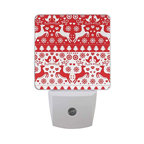 DFISKK Nachtlicht Set of 2 Merry Christmas Red Pattern with Reindeer Bird Snowflake Tree Heart Folk Style Auto Sensor LED Dusk to Dawn Night Light Plug in Indoor for Adults Folk-küche
