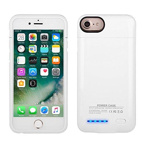 Mbuynow Cover Batteria da 3000mAh Cover Ricaricabile iPhone Power Case Custodia Protettiva con Batteria Integrata da 3000mAh per iPhone 6 / 6S / 7 da 4.7 - Nero Bianco
