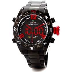 Alienwork DualTime LED Analog-Digital Armbanduhr Chronograph Uhr Multi-funktion schwarz Edelstahl OS.WH-2310-B-5