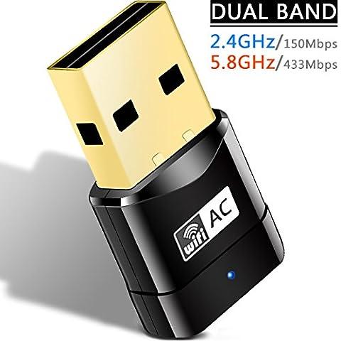 Heiyo Dualband Wireless Adapter, 600Mbps 802.11ac Mini USB WiFi LAN Netzwerk Dongle mit SoftAP & WPS für Computer, Laptop und Desktop, Unterstützung Windows XP / VISTA / Win7 / Win8 / Win10 / Linux / Mac und