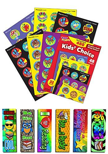 atch n Sniff Belohnungsaufkleber, verschiedene Farben, inkl. 6 Lesezeichen für Kinder ()