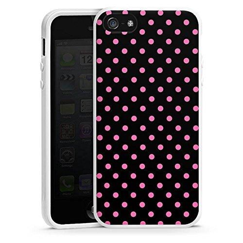 Apple iPhone 6 Plus Housse Étui Protection Coque Points Rose vif Noir Housse en silicone blanc