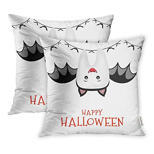 WBinHua Zierkissenbezüge, Throw Pillow Covers, Set of 2 Cases Cute Cartoon Tooth Character in Bat Suit Trick Treat Happy Halloween White 18