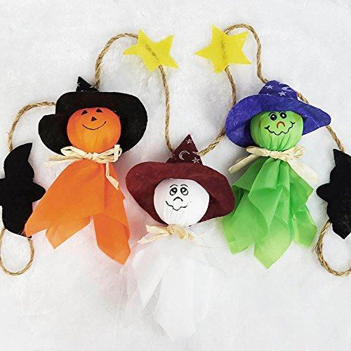 Hexe Dekor (HuntGold 1 Meter Halloween Schnur Fahne 3 Geist Kürbis Tuch Gespenst Hexe Anhänger Party)