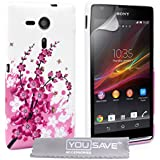 Yousave Accessories Silikon Gel Schutzhülle für Sony Xperia SP–Floral Bee