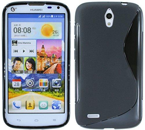 Huawei Ascend G610 // Silikon Hülle S-Line Tasche Case Zubehör Schale in Schwarz @ Energmix