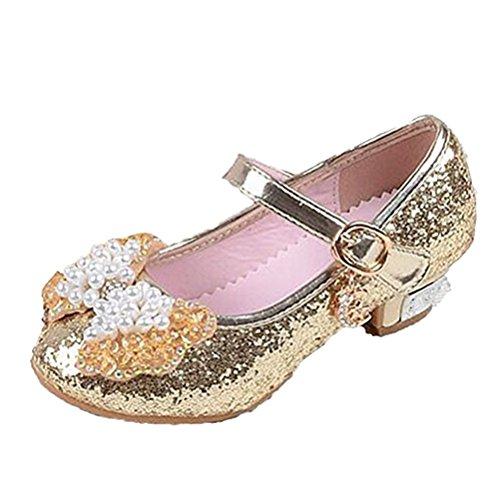 Brinny Ballerine Chaussures à talon à Déguisement Princesse Nœud Papillon Paillettes pour Enfant Fille 3 à 12 ans 4 Couleur 12 Taille: 26-37 Or