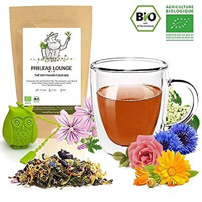 Thé vert Panier fleuri Bio - thé biologique -80g - Infuseur Chouette offert