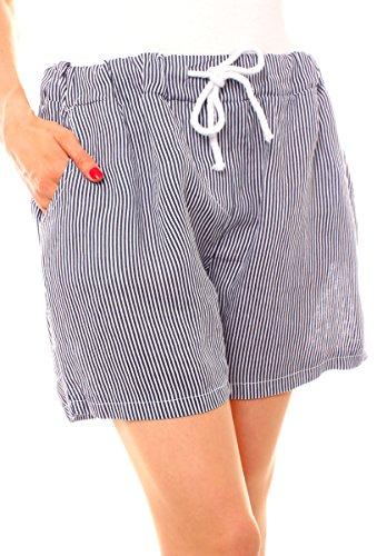 Fragolamoda Damen Casual Sommer Lässige Leinen Shorts Bermuda kurze Hose Schlupf gestreift Onesize Gr 36 38 40 S M L Blau Navy Dunkelblau (Streifen-bermuda-shorts)