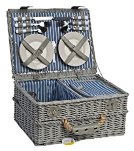 picknickkorb rattan rund retro 2 personen blau rot. Black Bedroom Furniture Sets. Home Design Ideas