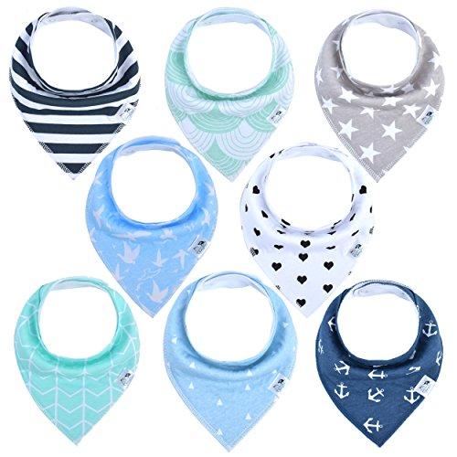 BabyJoon Dreieckstücher in verschiedenen unisex Designs [8er Set] - Lätzchen in Geschenkverpackung - Chemiefreie Baby Halstücher - Spucktücher mit Druckknopf  (Eins Outfits Und Was Was Zwei)