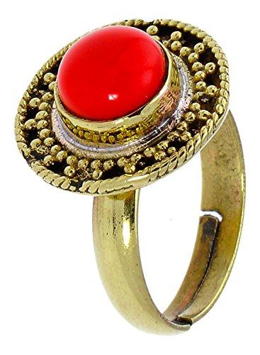 Chic-Net ottone anelli diaspro rotondo corda tre angolo antico golden privo di nichel regolabile Tribal drachensilber - Corda Angolo