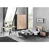 Lomadox Komplett Jugendzimmerset massiv schwarz, Birke massiv lackiert, 90x200 cm Jugendbett mit Nachttisch, 150cm Kleiderschrank 3-trg und 150cm Schreibtisch