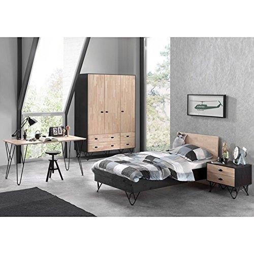 Birke-set Schreibtisch (Lomadox Komplett Jugendzimmerset massiv schwarz, Birke massiv lackiert, 90x200 cm Jugendbett mit Nachttisch, 150cm Kleiderschrank 3-trg und 150cm Schreibtisch)