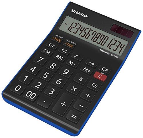 Sharp Electronics EL145TBL Tischrechner 14 Stellen, Steuerberechnung, schwarz/blau