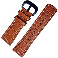 Honey Brown Leather Watch Strap Band 28mm Black Buckle Stitch Suitable Sevenfriday M1M2 P2P3