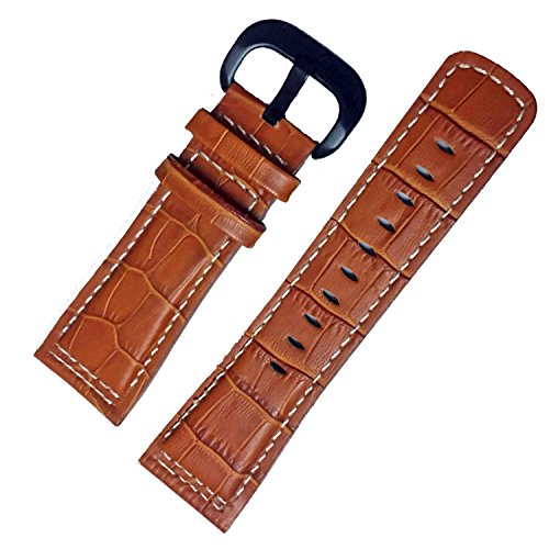 28mm-honey-brown-leather-watch-strap-band-black-buckle-stitching