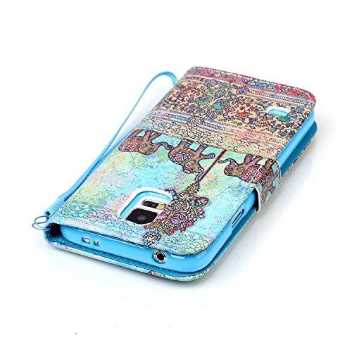 Meet de Samsung Galaxy S5 i9600 Bookstyle Étui Housse étui coque Case Cover smart flip cuir Case à rabat pour Galaxy S5 Coque de protection Portefeuille - this iphone is locked slide to unloke éléphant ethnique