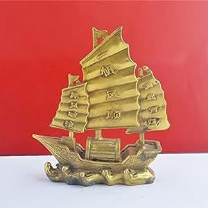 Porte-Bonheur Traditionnel Feng Shui Décoration Statuette de bateau-dragon en voile brut - Amulette - Mxsabrina Bracelet de ficelle rouge offert