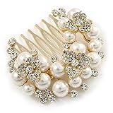 Clair autrichien Cristal, perle de verre Floral Peigne de côté en ton doré antique–55mm