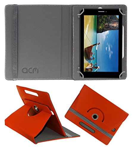Acm Rotating 360° Leather Flip Case for Iball Slide 7236 2g Cover Stand Orange  available at amazon for Rs.149